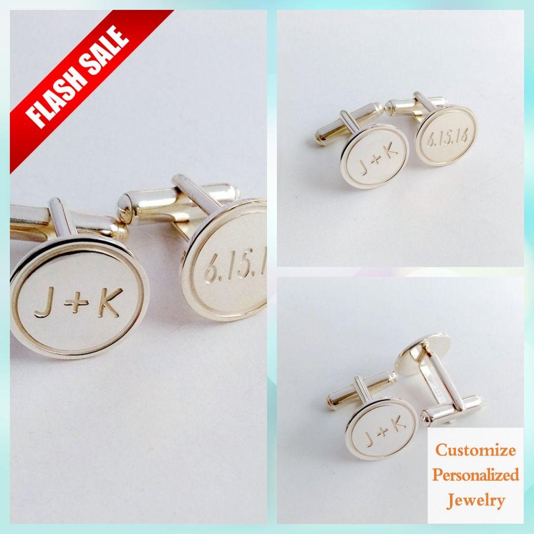 Groom Wedding Cufflinks,Date and Initials Cufflinks,Personalized Wedding Cufflinks,Engraved CuffLinks,Elegant Monogrammed Cufflinks