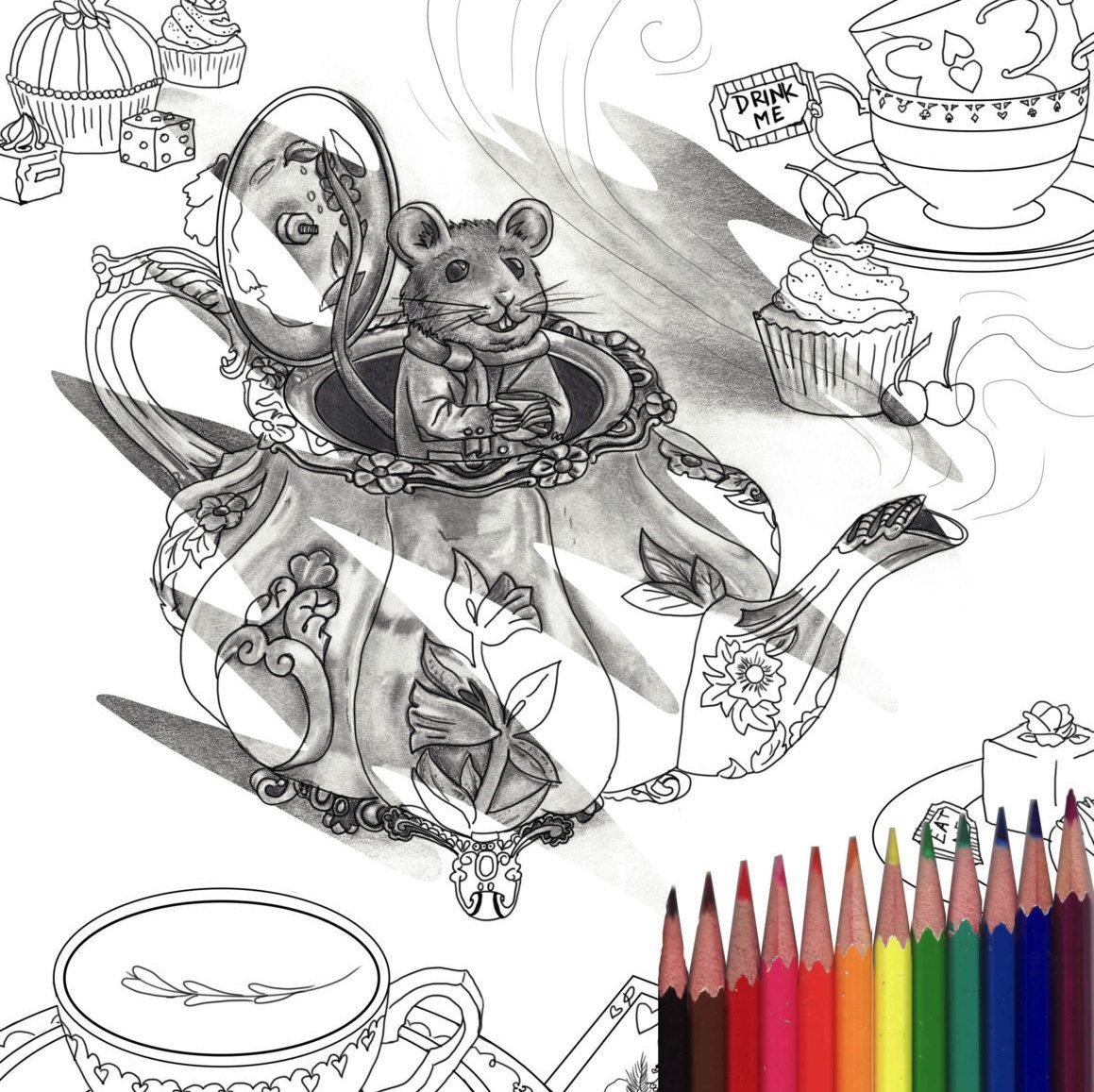Alice In Wonderland Coloring Page Dormouse Coloring Page Printable