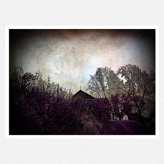 Nature Photography, dark purple, barn woodlands, clouds,  Black Clouds fine art photography print 8x10