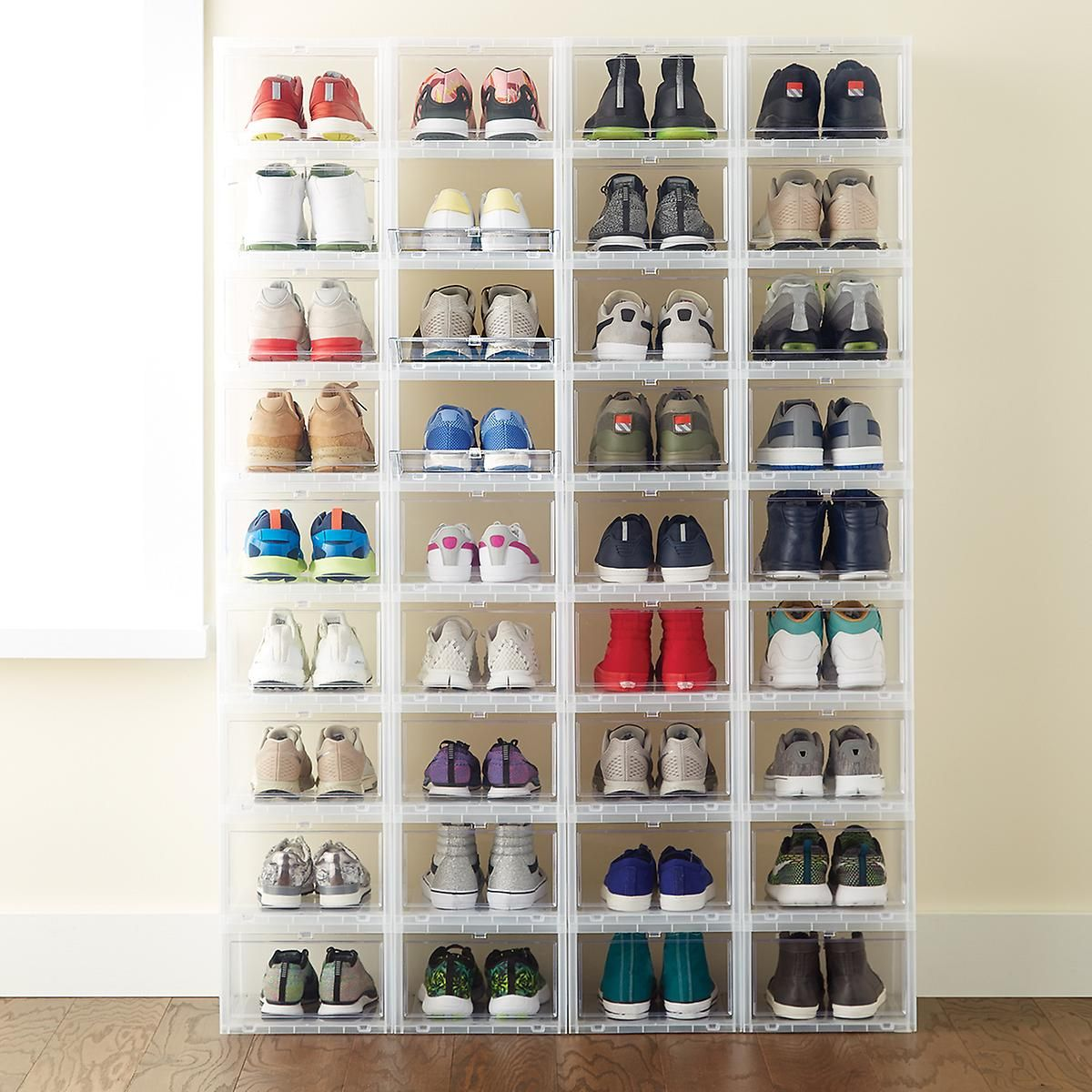 8 shoe open drawers httpswwwcontainerstorecomsclosetshoe storage bins boxesmens drop front shoe box123dproductid11006294 - Container Store Shoe Storage
