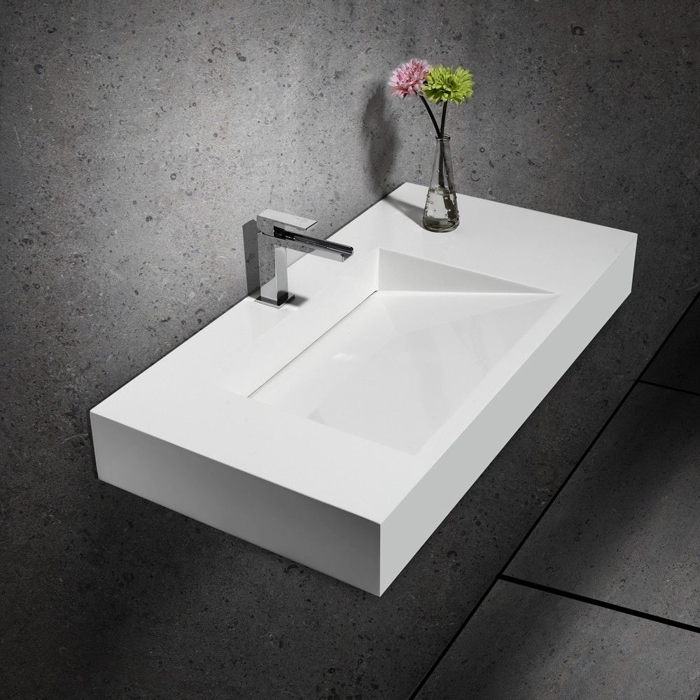 Wall Hung Stone Resin Rectangle Bathroom Ramped Sink In Matte Or