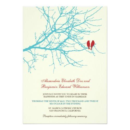 Love Birds Wedding Invitations Love Birds Branch Wedding Invitation (aqua)