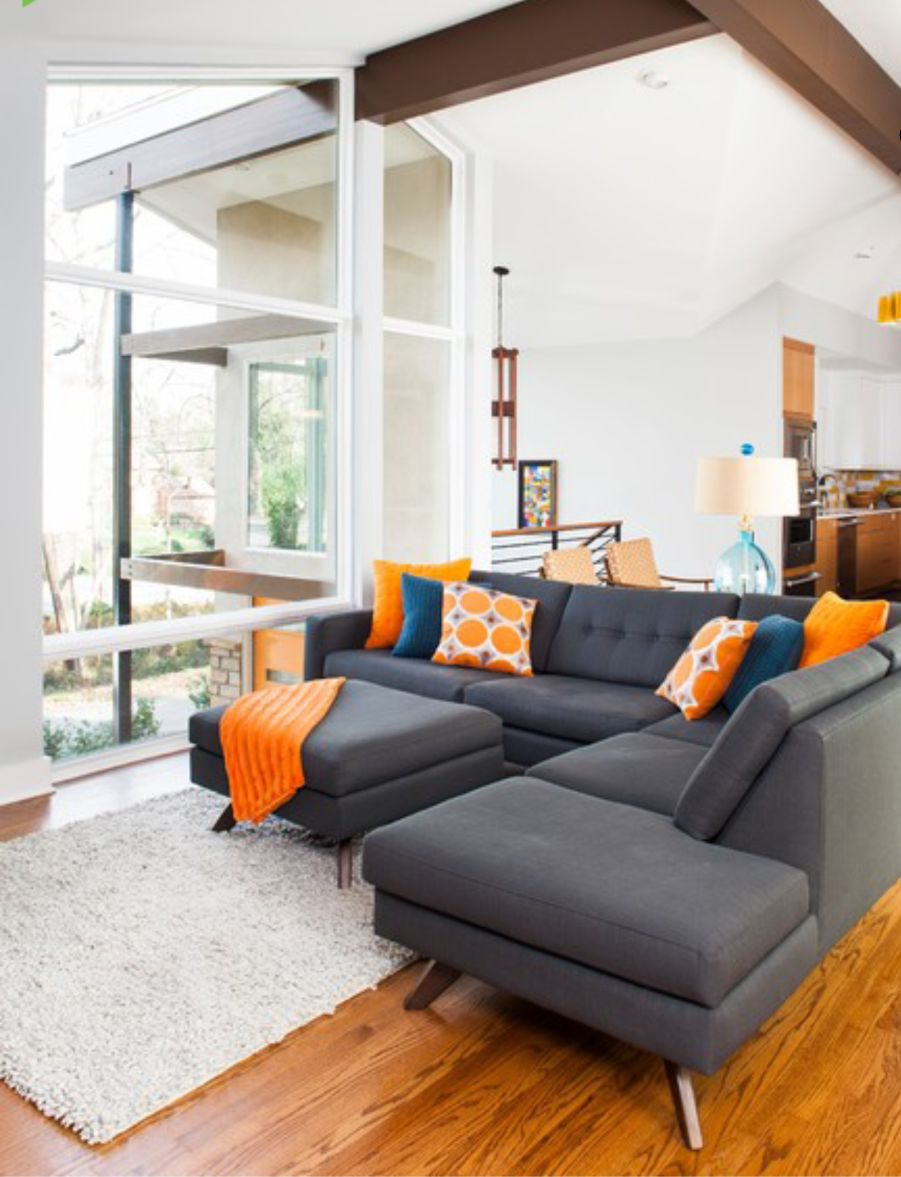 Dark grey brown orange and white living room mid - Orange and brown living room ideas ...