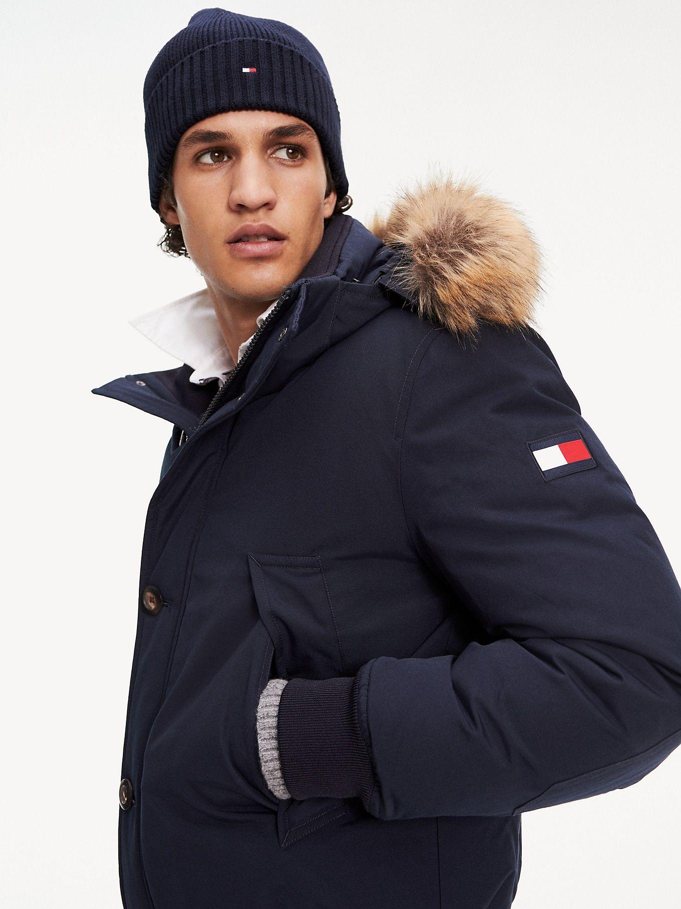 Down Filled Hooded Bomber Jacket Sky Captain Tommy Hilfiger Hooded Bomber Jacket Outerwear Jackets Men S Coats Jackets [ 1819 x 1364 Pixel ]