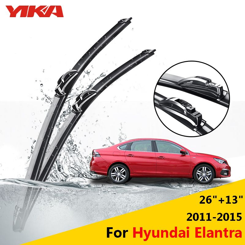 Yika Car Rubber Glass Wiper Blades For Hyundai Elantra Fifth Generation 26 13 Fit Hook Arms 2011 2012 2013 2014 2015 Auto Replacement Parts Auto Glass O