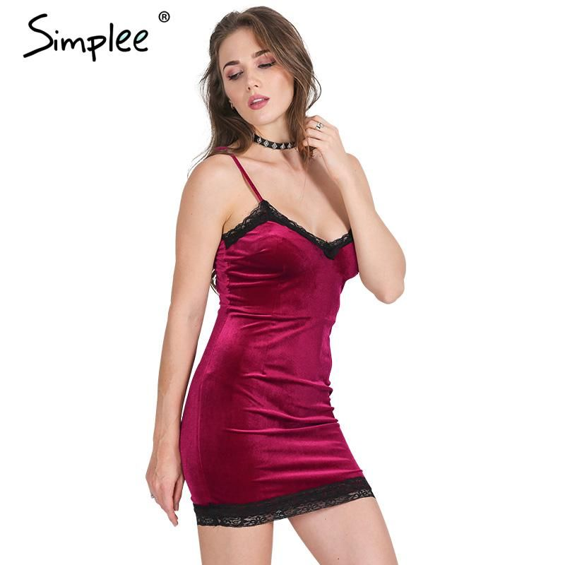 Simplee Samt spitzenkleid frauen Sexy fringe bodycon kleid Elegante ...