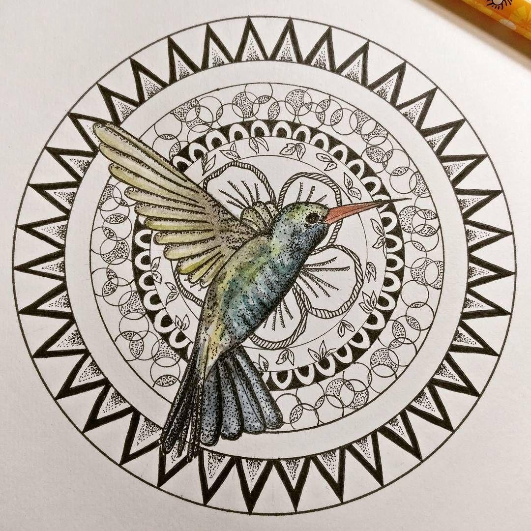 mandala #colibri #hummingbird #pointillism #art #artwork #drawing ...