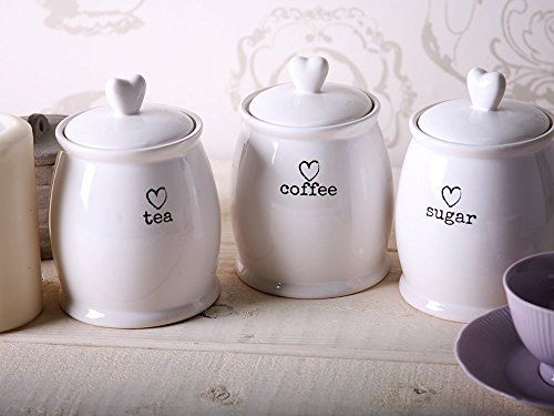 Set Of 3 Ceramic Tea Coffee Sugar White Storage Jars Sh S