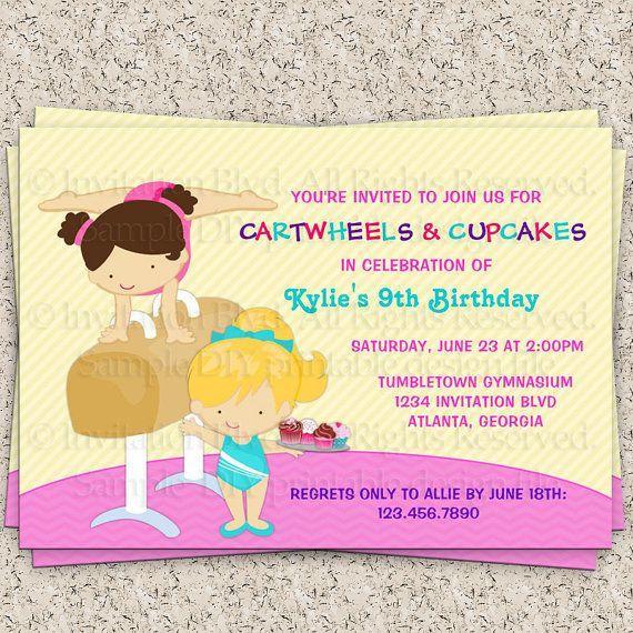 kids gymnastics party gymnastics birthdayinvitationblvd, invitation samples