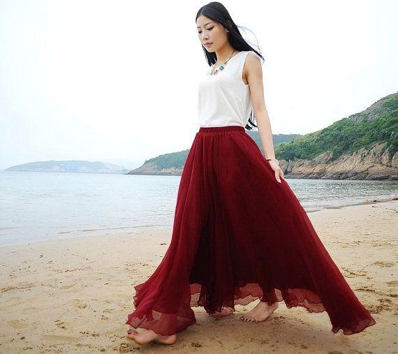 Burgundy Red Chiffon Maxi Skirt Long Sundress maternity Wear ...
