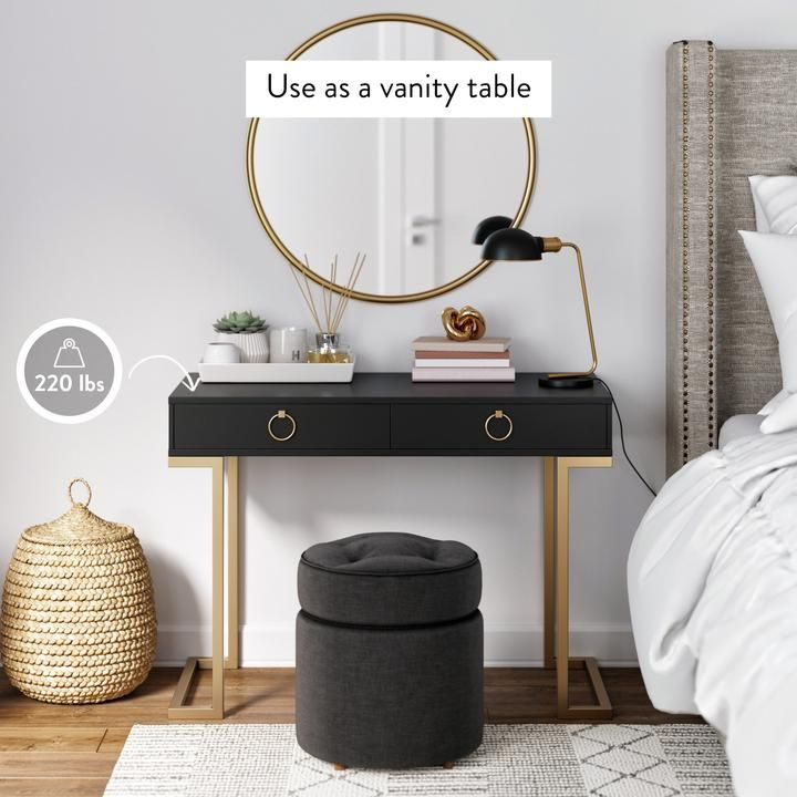 Leighton Black Two-Drawer Modern Desk With Gold Legs And