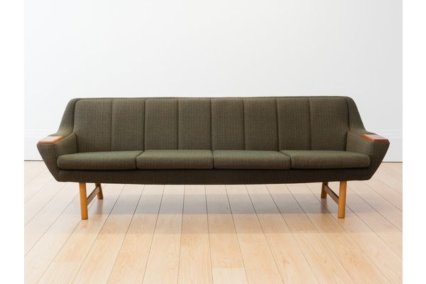 Norwegian Green Tweed Teak 4 Seater Sofa Vintage Midcentury Home