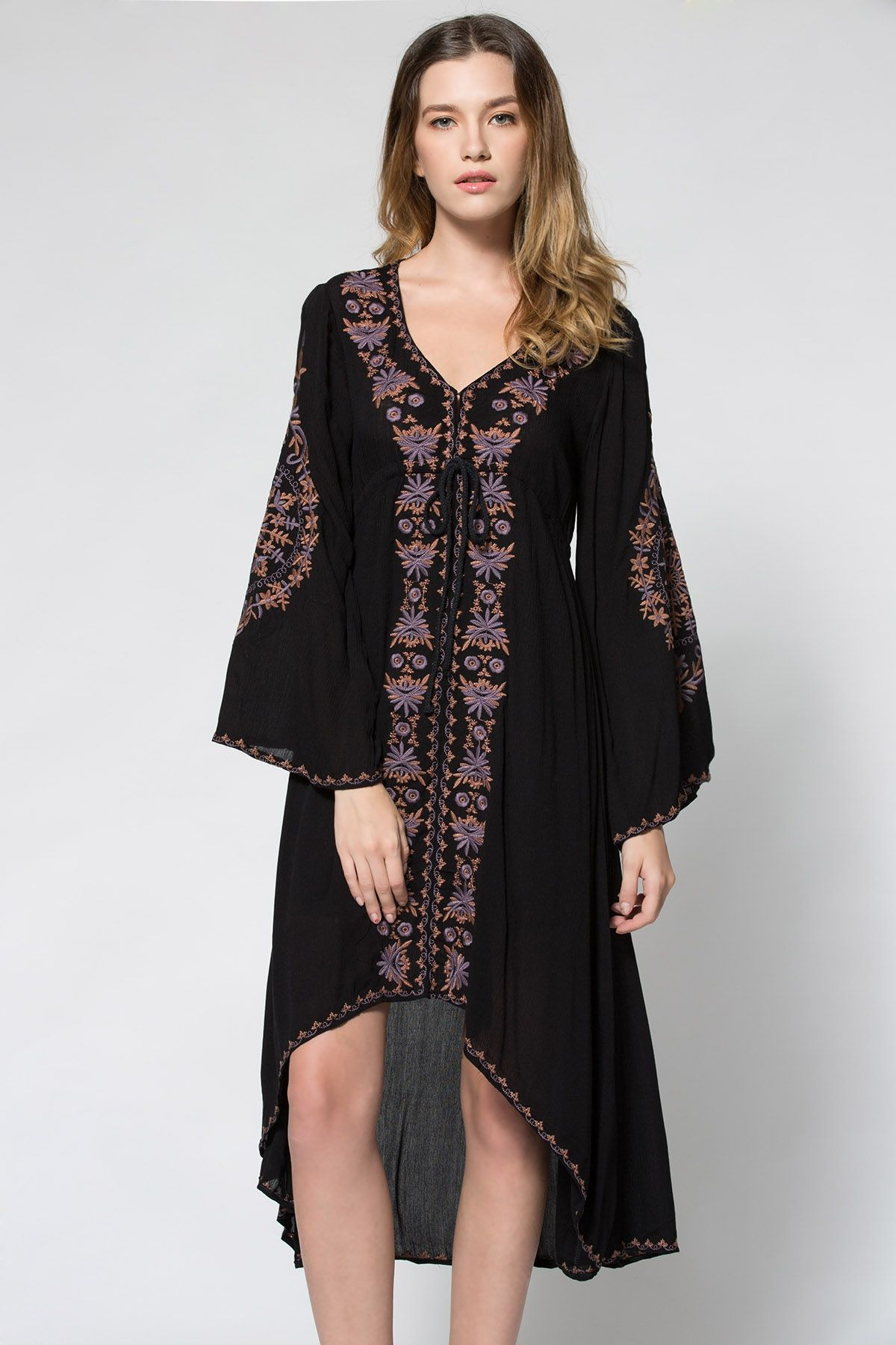 12dea2711ad Plunging Neck Embroidered High-Low Hem Maxi Dress BLACK  Maxi Dresses