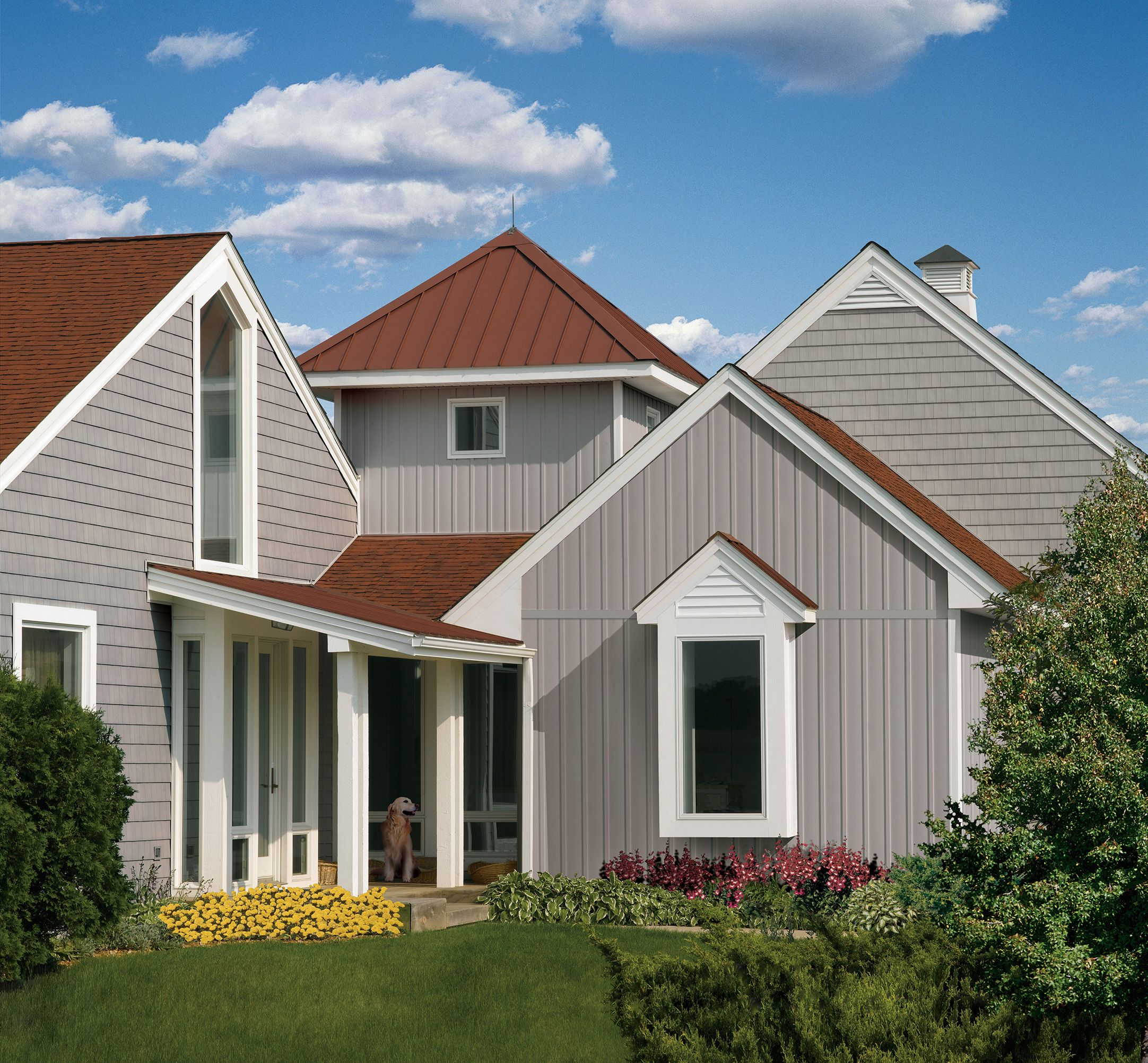 Modern House Red Roof: Red Roof, Siding Color, White Trim Modern: Shake