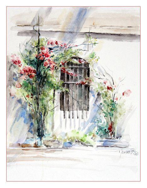 """Garten der Palazzo Balbi Mocenigo in Venedig"" / Aquarell 30x40cm"