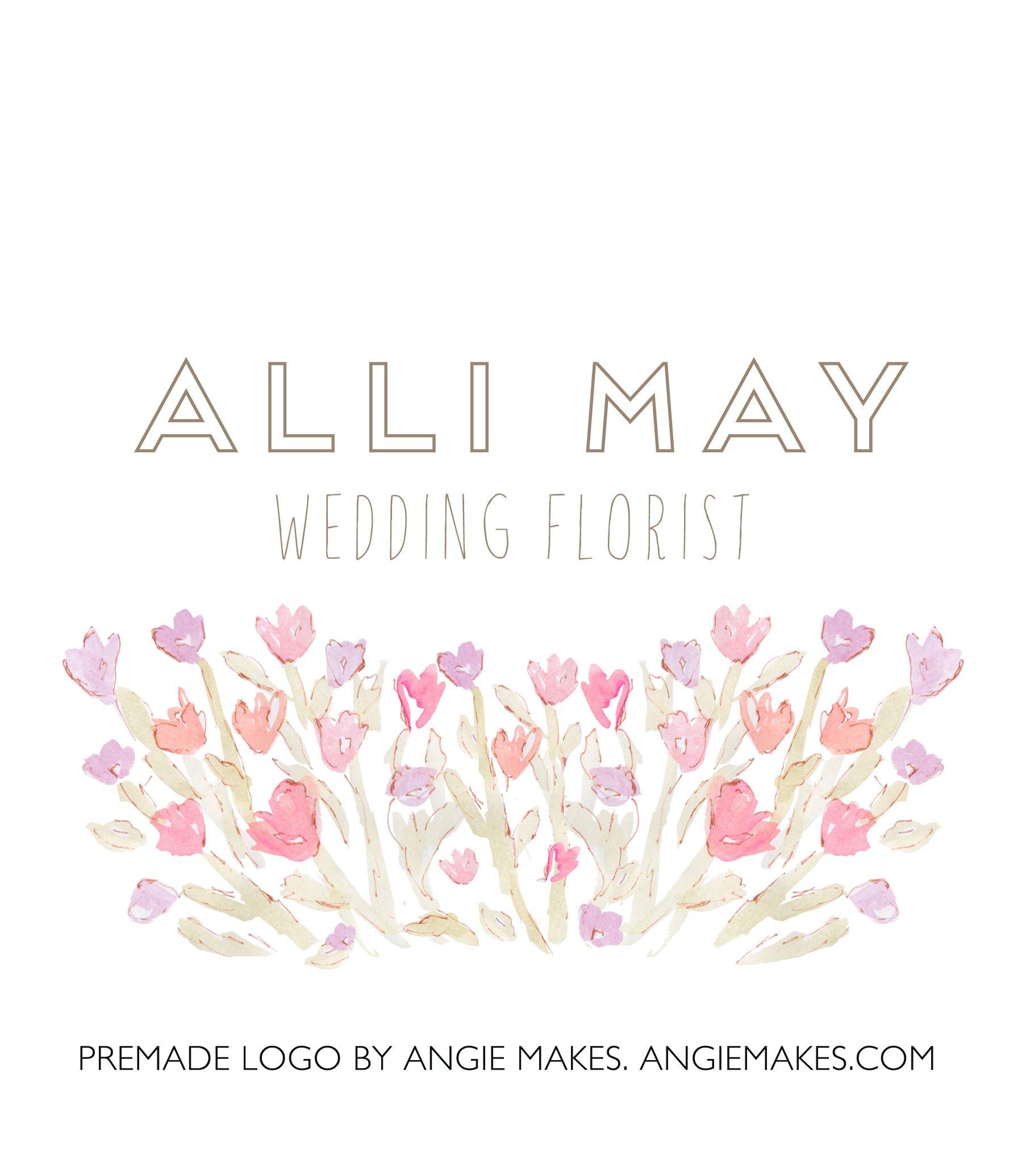 Alli Premade Watercolor Flower Logo Flower logo