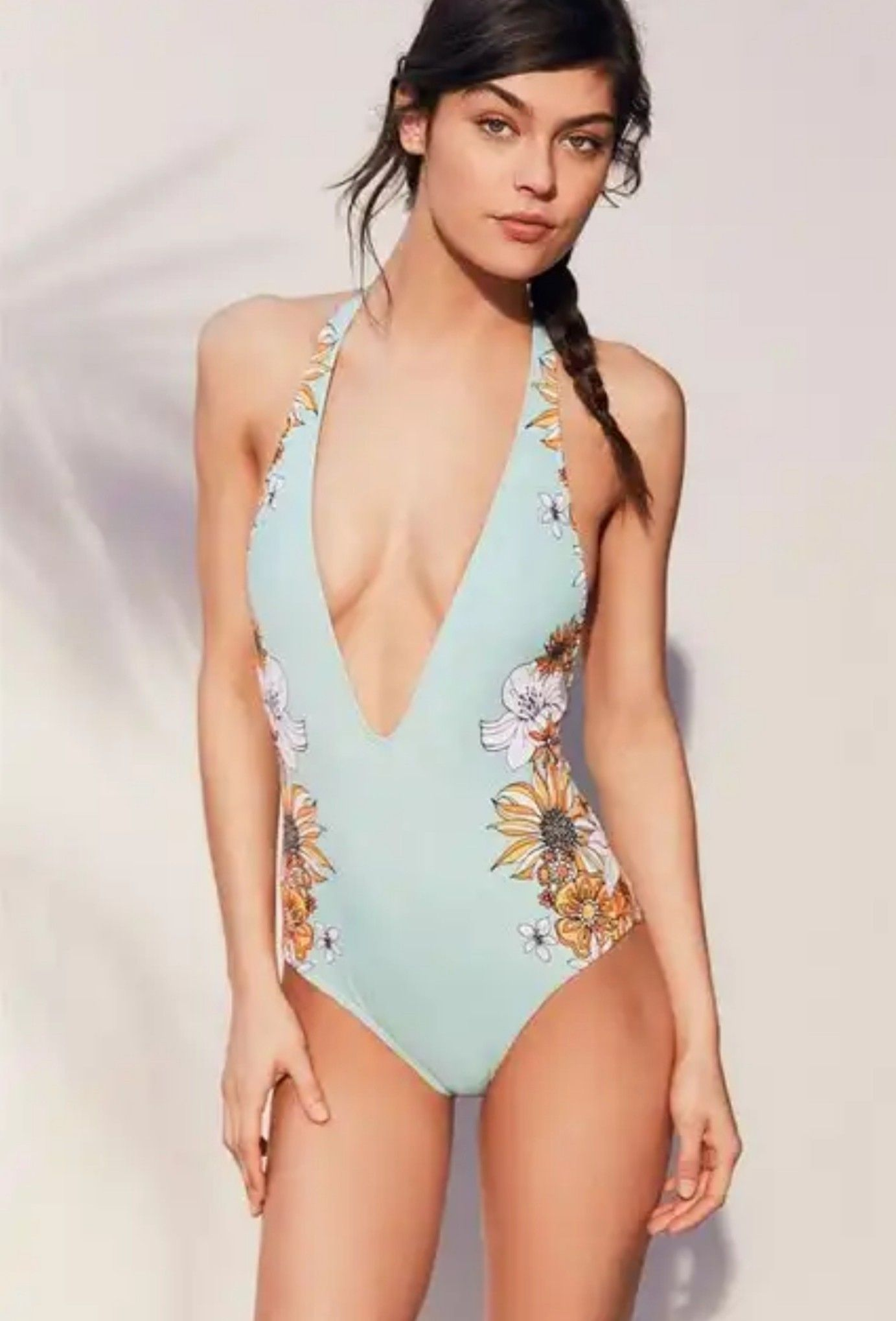 f093491b03 Mint green swimsuit with cross cross back and deep plunge front ...