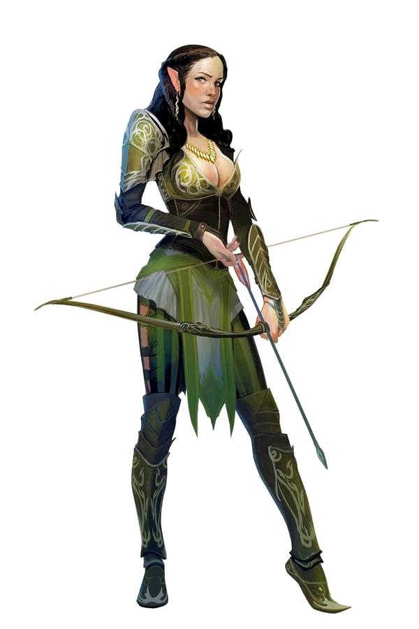 Female Elf Ranger Archer - Pathfinder PFRPG DND D&D d20 ...