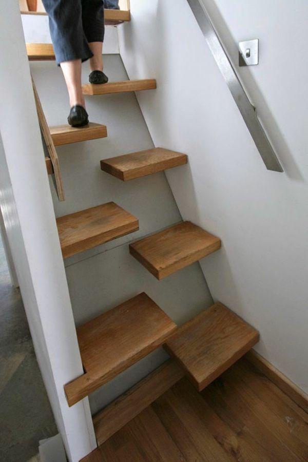 Treppenhaus Gestalten Beispiele holztreppen trittstufen halbiert kreative design ideen loft