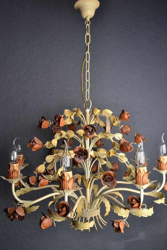 Italian Tole Chandelier With Roses 8 Light Bulbs By Lievrevintage