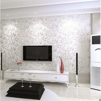 Nuova carta da parati moderna del pvc 3d silver parete for Carta da parati moderna per soggiorno
