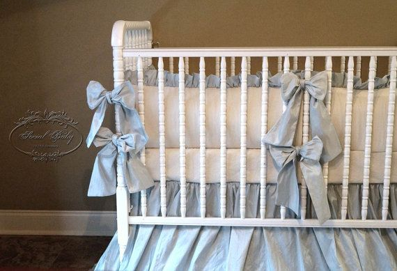 Baby Bedding In Baby Pink Silk With Ivory Linen Bumpers Baby