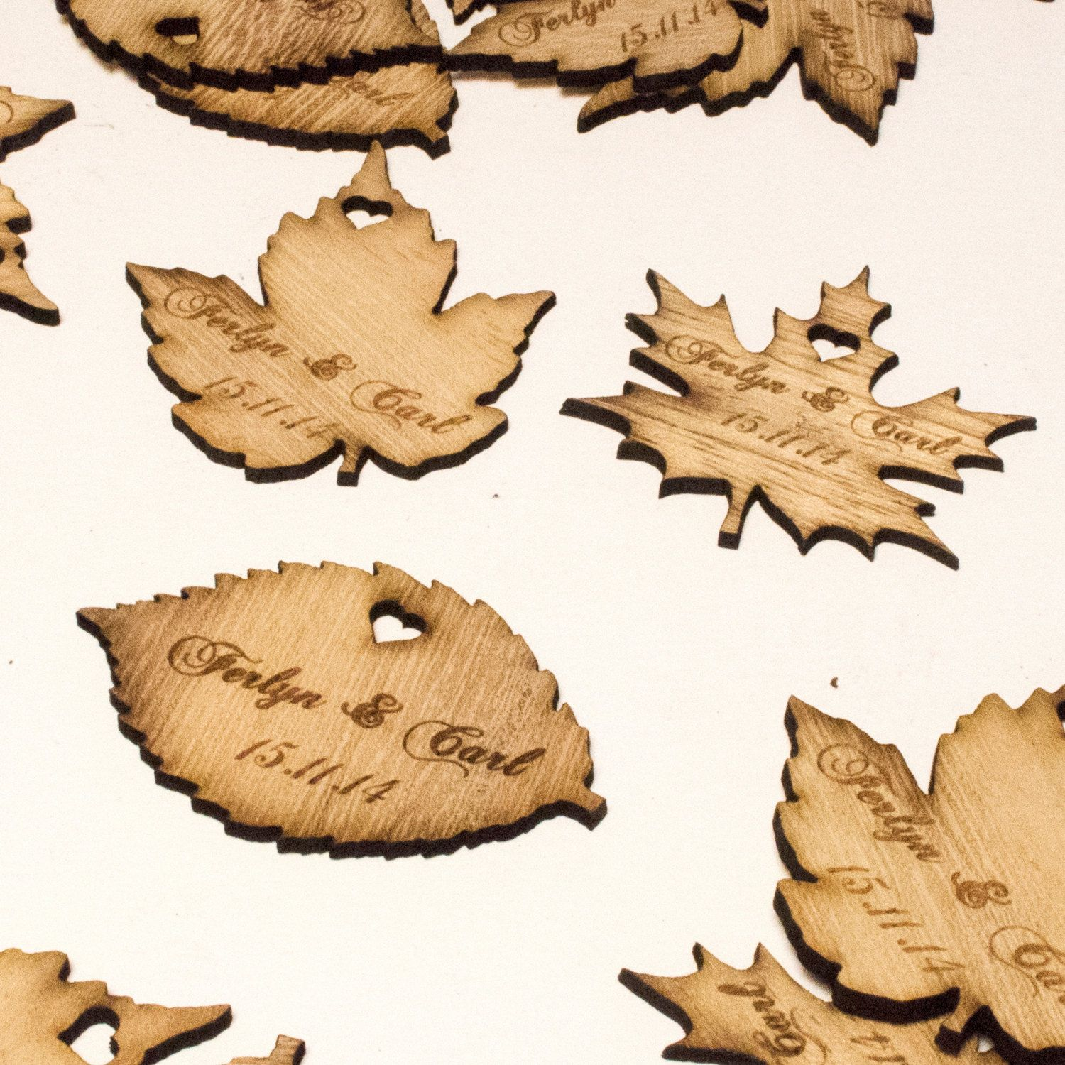 personalised wooden leaf table decorations bespoke rustic or