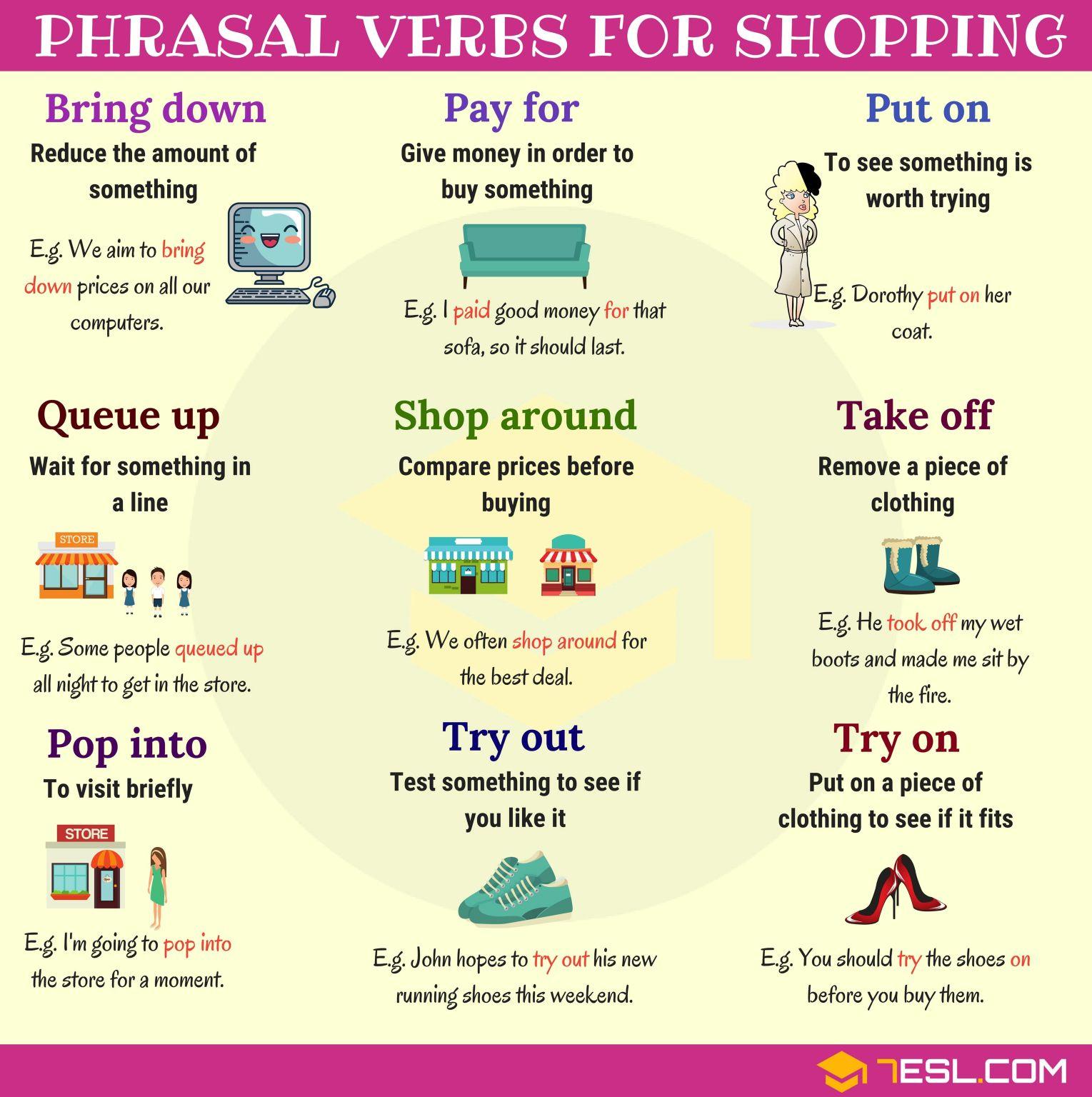 Phrasal Verbs For Shopping Com Imagens