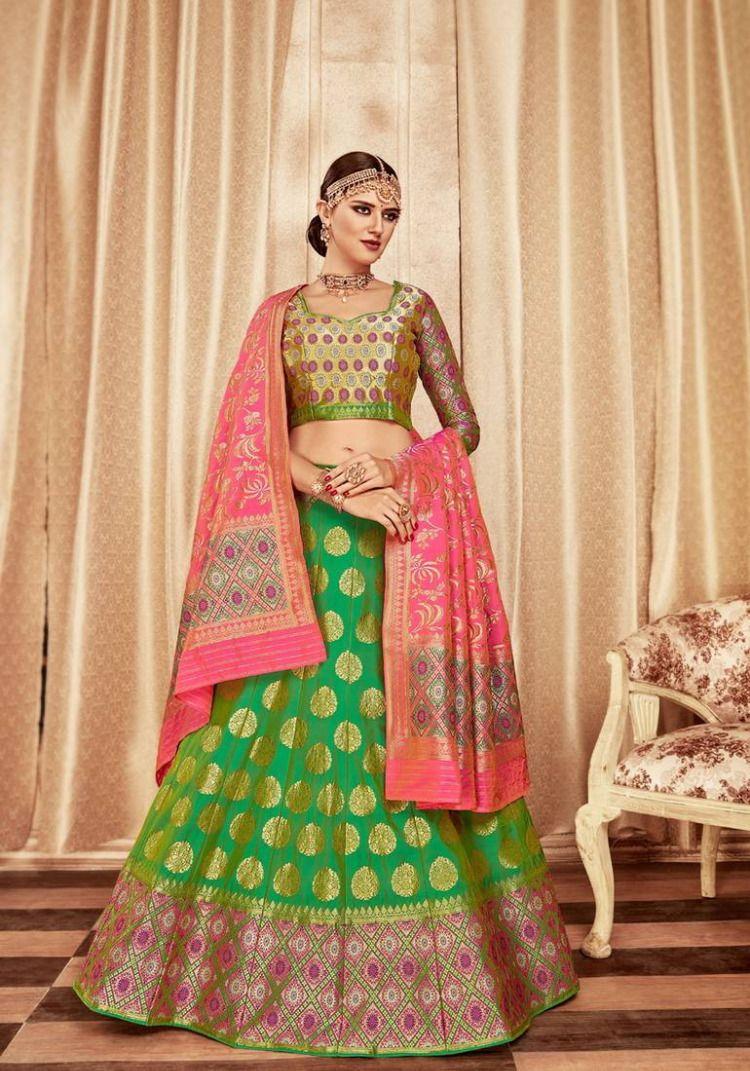 85064c33a67322 Green embroidery pure banarasi silk lehenga with dupatta in 2019 ...