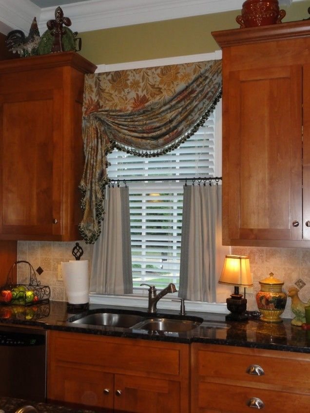 Kitchen  Beautiful Window Treatments For Elegant Feat Wooden Cabinet And Black Countertop