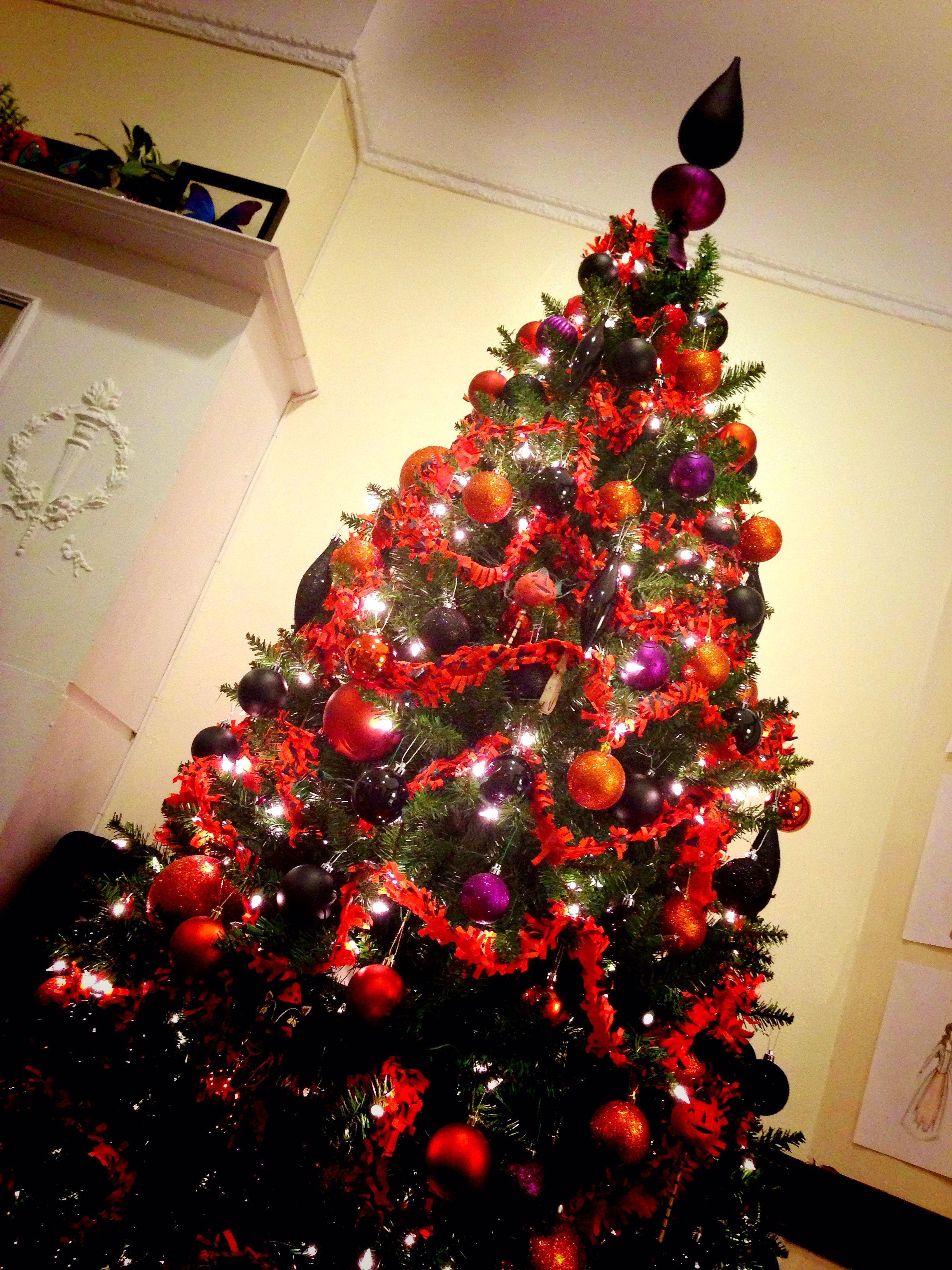Halloween tree with orange, black, purple and green decor - halloween tree decoration