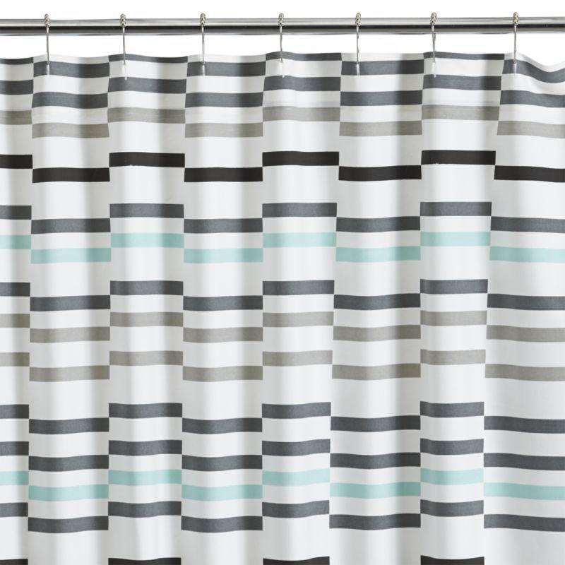 Bold Grey And Aqua Stripes On White Add A Crisp, Cool Look