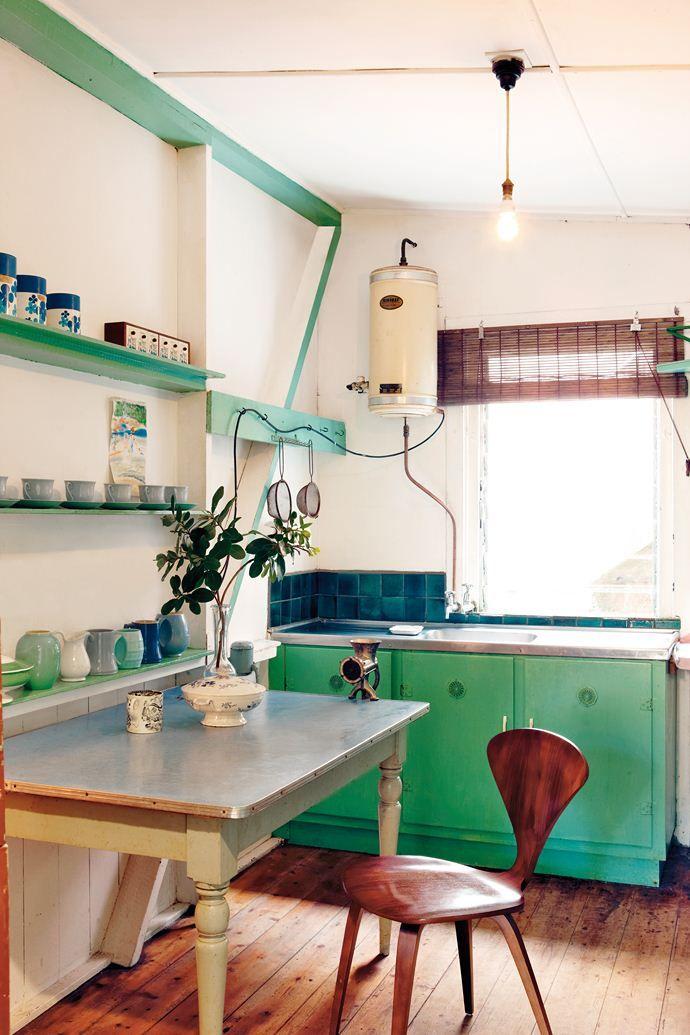 Cabin Aqua Green Kitchen Vintage Industrial Recycled Pinterest