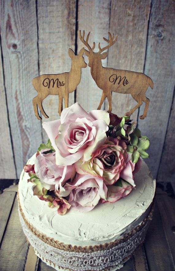 Hey, I found this really awesome Etsy listing at https://www.etsy.com/listing/175462799/deer-bride-groom-wedding-cake-topper