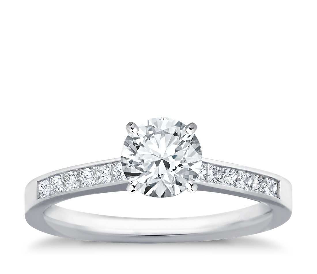 Petite trellis solitaire engagement ring in k white gold