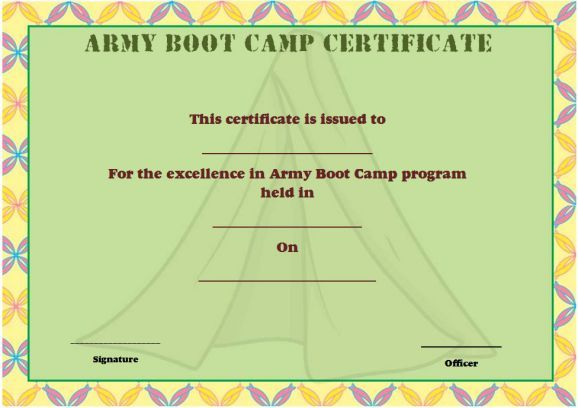 Army Boot Camp Certificate Boot Camp Certificate Template