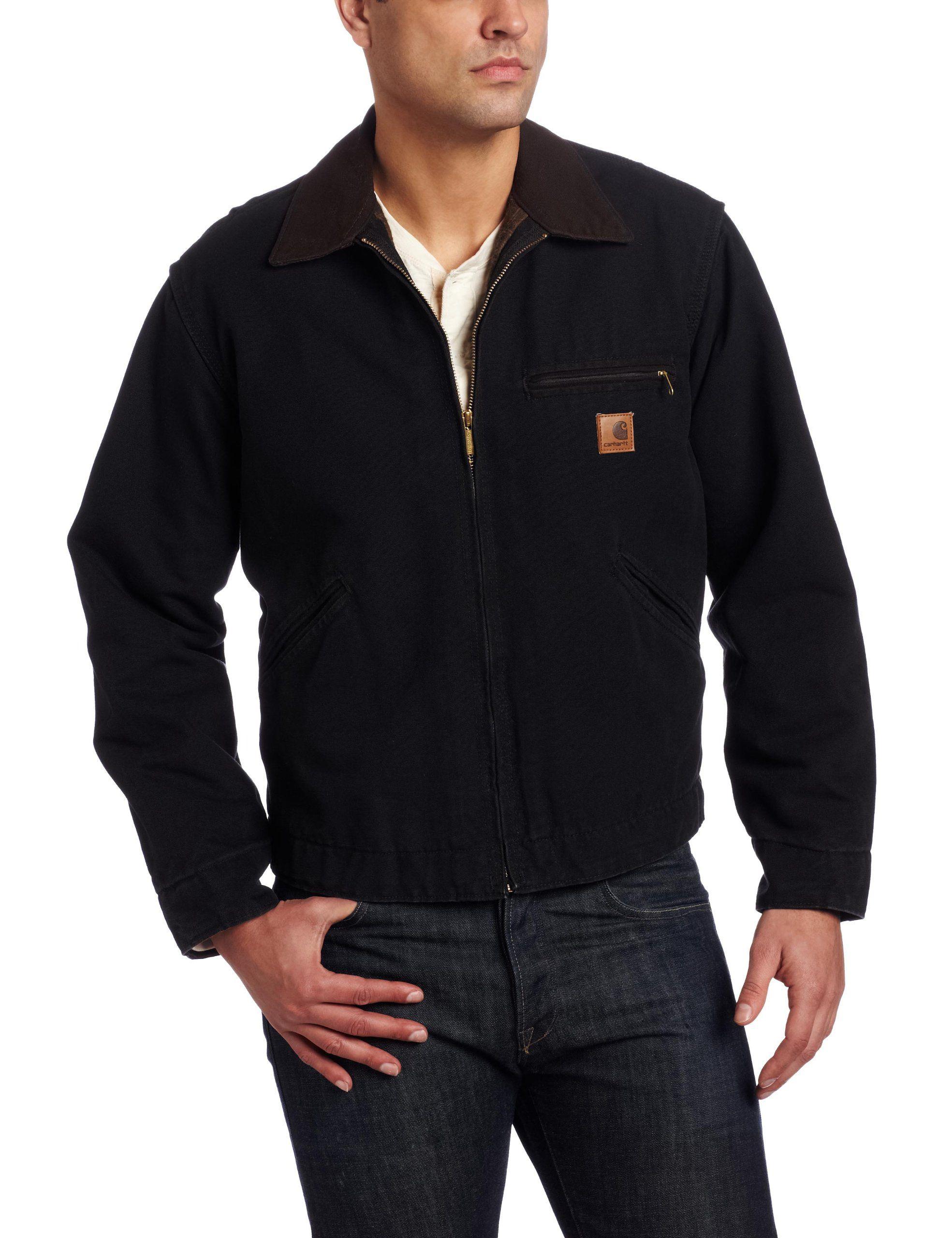 cc80f7dd501c9 Carhartt Men's Big & Tall Blanket Lined Sandstone Detroit Jacket  J97,Black,Large Tall