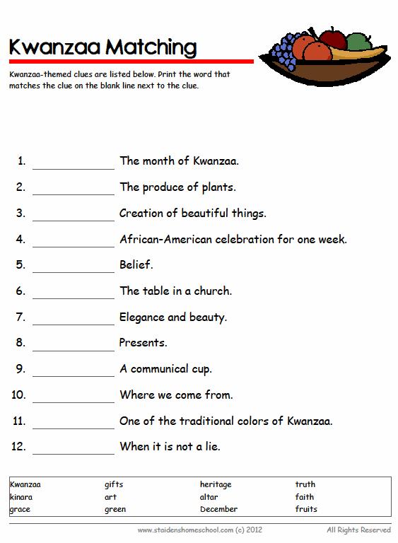 Free Kwanzaa Vocabulary Worksheets For Grades 4 7 Kwanzaa