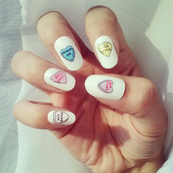Not-So-Sweetheart Nail Decals by DopeDigits on Etsy | i want this ...