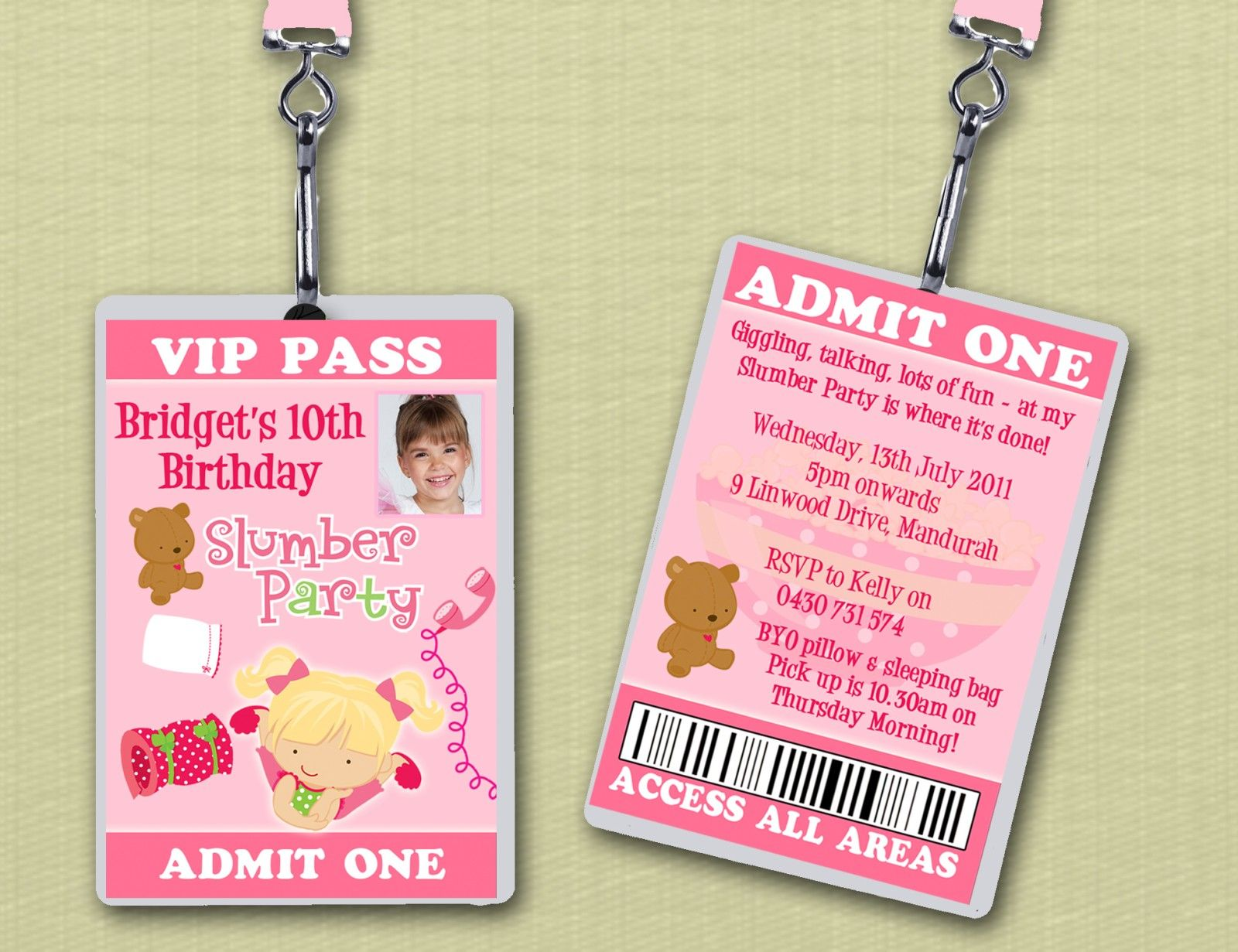 VIP Lanyard Slumber Party Birthday Invitations – Spa Slumber Party Invitations