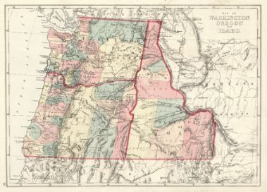 Map Of Washington Oregon And Idaho H H Hardesty Co 1875
