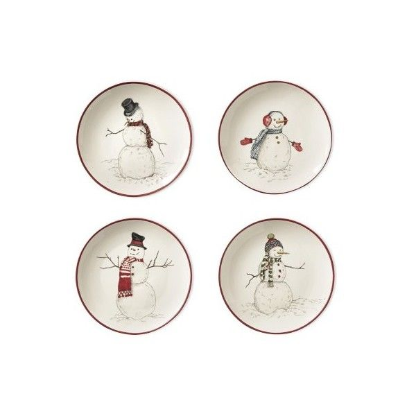 Williams-Sonoma Snowman Mixed Appetizer Plates Set of 4 ($29) ? liked on  sc 1 st  Pinterest & Williams-Sonoma Snowman Mixed Appetizer Plates Set of 4 ($29 ...