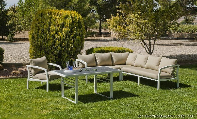 Salon de jardin aluminium Rinconera 6 places coussins beige foncé ...
