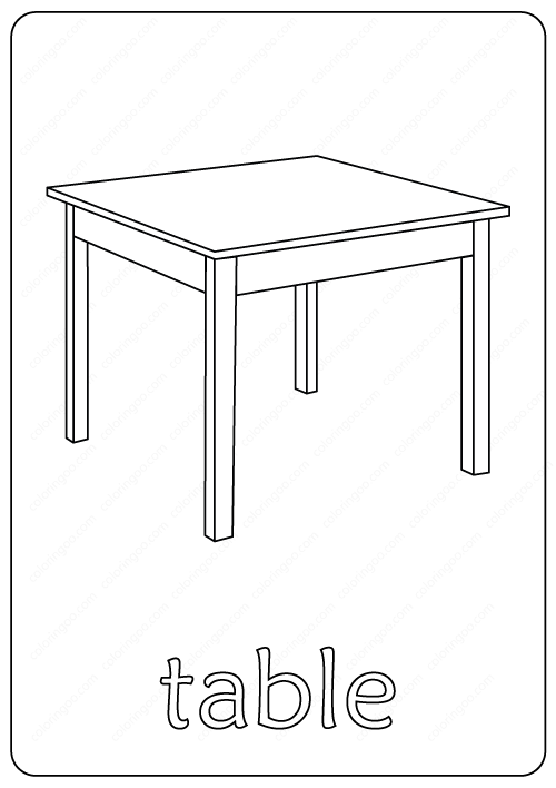 Printable Table Coloring Page Book Pdf Coloring Pages Color Printables