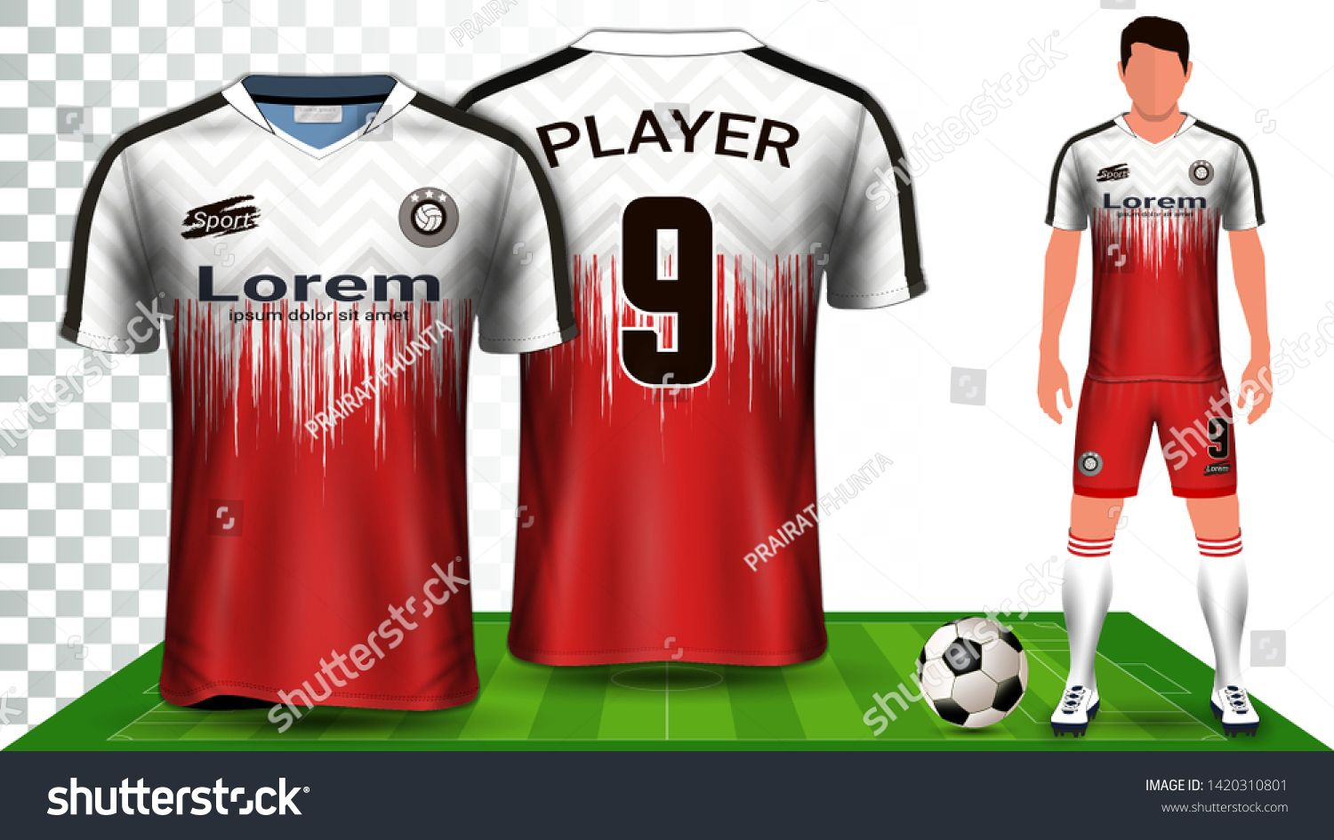 Download Soccer Jersey Sport Shirt Or Football Kit Uniform Presentation Mockup Template Front And Back View Including Shorts And Socks Desain Kaos Jersey Kaos Desain