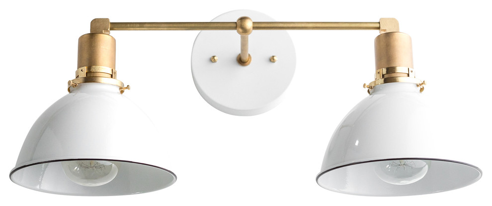 195 Brass Industrial White Dome Shade Vanity Light