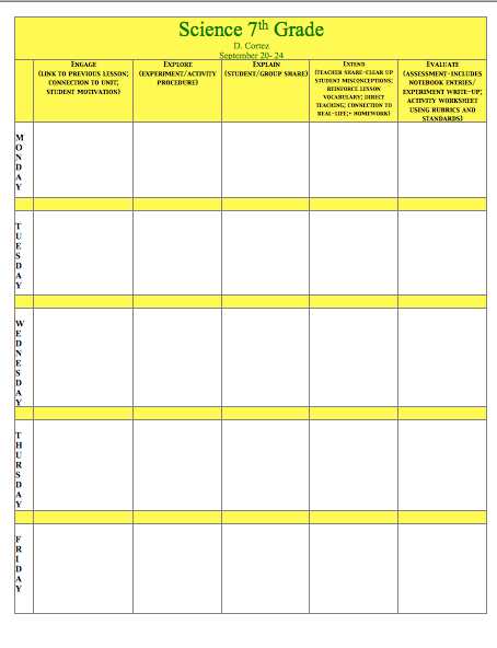 Oh My Science Teacher 5e Model Of Inquiry Lesson Plan Template