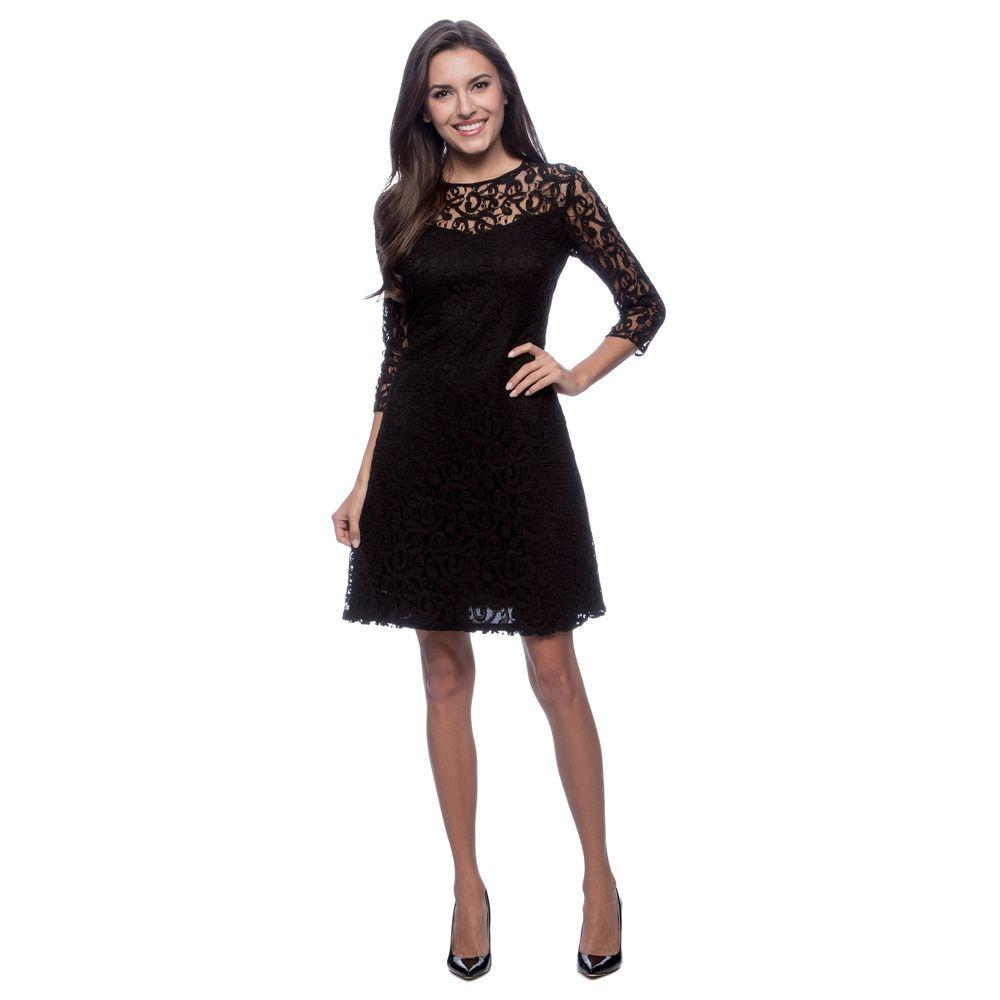 Marc NY Women\'s Black Lace Overlay 3/4-sleeve Dress - Overstock ...
