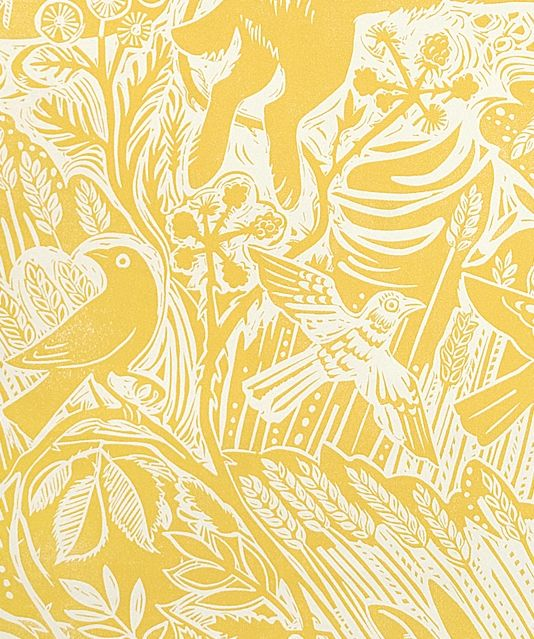 Harvest hare wallpaper excellent lino print with mark hearld rabbit and bird design in corn yellow
