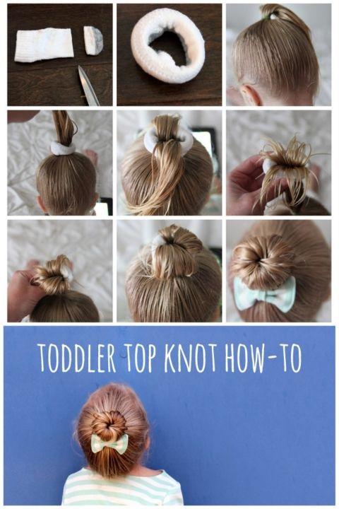 toddler top knot (aka ballerina bun) tutorial hair Pinterest - peinados de nia faciles de hacer